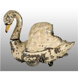 Tin Hand-Painted Swan Wind-Up Toy.