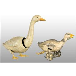 Lot of 2: Tin Hand-Painted Goose Wind-Up Toys.