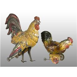 Lot of 2: Tin Hand-Painted Rooster Wind-Up Toys.