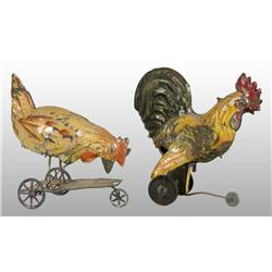 Lot of 2: Tin Hand-Painted Rooster Toys.