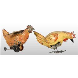 Lot of 2: Tin Hand-Painted Wind-Up Rooster Toys.