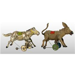 Lot of 2: Tin Hand-Painted Donkey Wind-Up Toys.