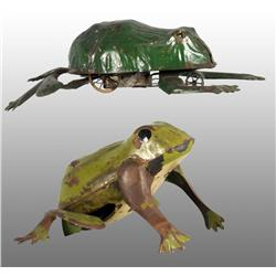 Lot of 2: Tin Hand-Painted Frog Wind-Up Toys.