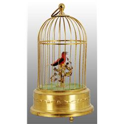 Tin Bird in Cage Music Box Wind-Up Toy.