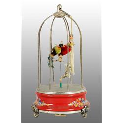 Tin 2 Birds in Cage Wind-Up Toy.