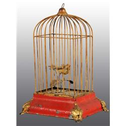 Tin Hand-Painted Birdcage Wind-Up Toy.