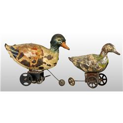 Lot of 2: Tin Hand-Painted Duck Wind-Up Toys.