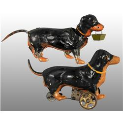 Lot of 2: Tin Hand-Painted Dachshund Wind-Up Toys.