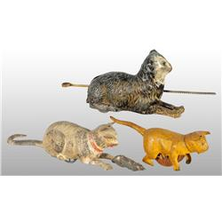 Lot of 3: Tin Hand-Painted Cat Toys.