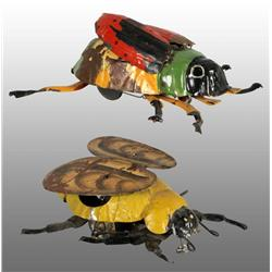 Lot of 2: Tin Hand-Painted Insect Wind-Up Toys.