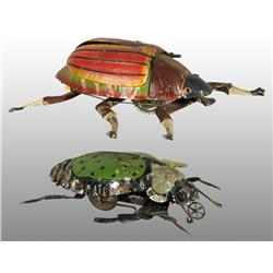 Lot of 2: Tin Hand-Painted Beetle Wind-Up Toys.