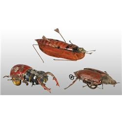 Lot of 3: Tin Hand-Painted Insect Wind-Up Toys.