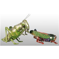 Lot of 2: Tin Grasshopper & Cricket Wind-Up Toys.