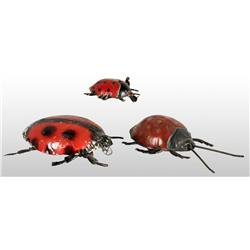Lot of 3: Tin Lady Bug Wind-Up Toys.
