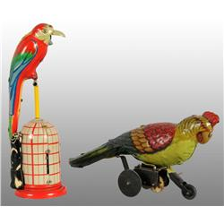 Lot of 2: Tin Litho Parrot Wind-Up Toys.