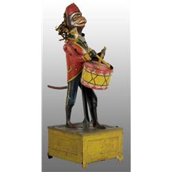 Tin Litho Monkey Playing Drum Wind-Up Toy.