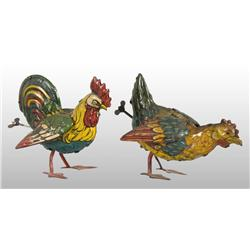 Lot of 2: Tin Litho Rooster Wind-Up Toys.