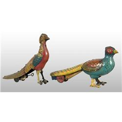 Lot of 2: Tin Litho Pheasant Wind-Up Toys.