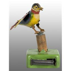 Tin Litho Bird Push-Activated Toy.