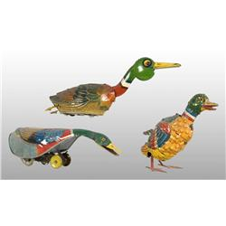 Lot of 3: Tin Litho Duck Wind-Up Toys.