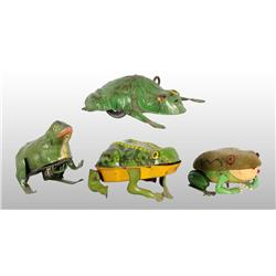 Lot of 4: Tin Frog Wind-Up Toys.