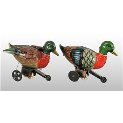 Lot of 2: Tin Litho Duck Wind-Up Toys.