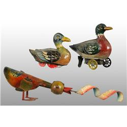 Lot of 3: Tin Litho Duck Toys.