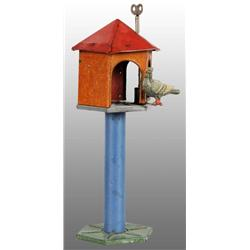 Tin Litho Pigeon & Birdhouse Wind-Up Toy.