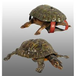 Lot of 2: Tin Litho Turtle Wind-Up Toys.
