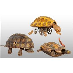 Lot of 3: Early Papier Mache Turtle Toys.
