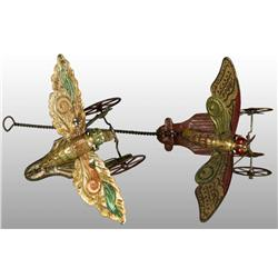 Lot of 2: Tin Butterfly Toys.