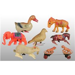 Lot of 7: Celluloid Animal Wind-Up Toys.