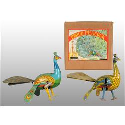 Lot of 2: Tin Peacock Wind-Up Toys.