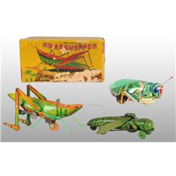 Lot of 3: Grasshopper Wind-Up Toys.