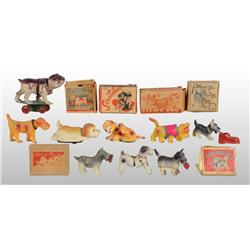 Lot of 9: Celluloid Dog Wind-Up Toys.