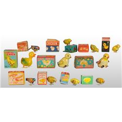 Lot of 11: Bird & Chick Wind-Up & Friction Toys.