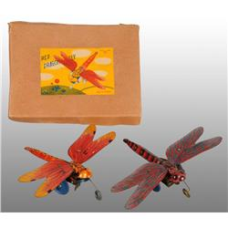 Lot of 2: Tin Litho Dragonfly Wind-Up Toys.