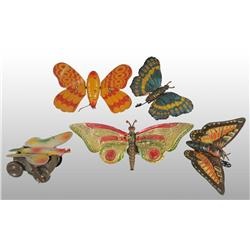 Lot of 5: Tin Butterfly Wind-Up Toys.
