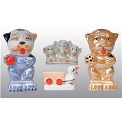 Lot of 4: Figural Toothbrush Holders.