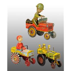 Lot of 3: Tin Whoopee Car Wind-Up Toys.