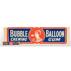 Cardboard Bubble Balloon Gum Sign with Gum.