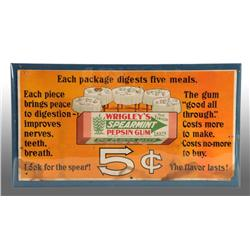 Wrigley's 5-Cent Gum Trolley Sign.