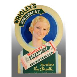 Cardboard Wrigley's Spearmint Chewing Gum Sign.