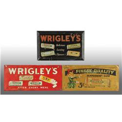 Lot of 3: Tin over Cardboard Wrigley's Signs.