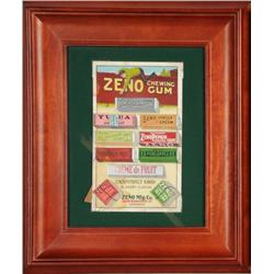 Framed Zeno Gum Die-Cut Sign.