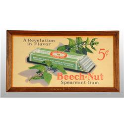 Cardboard Beech-Nut Gum Sign.
