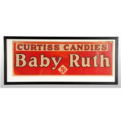 Framed Baby Ruth 5-Cent Sign.