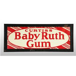 Tin Baby Ruth Gum Striped Sign.