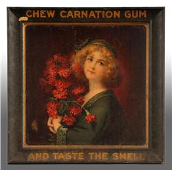 Metal Carnation Chewing Gum Sign.