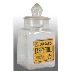 Colgan's Taffy Tolu Gum Jar with Lid.